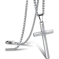 JewelBeauty Cross Pendant Necklace for Men Stainless Steel Titanium Necklace,18-36 Inches
