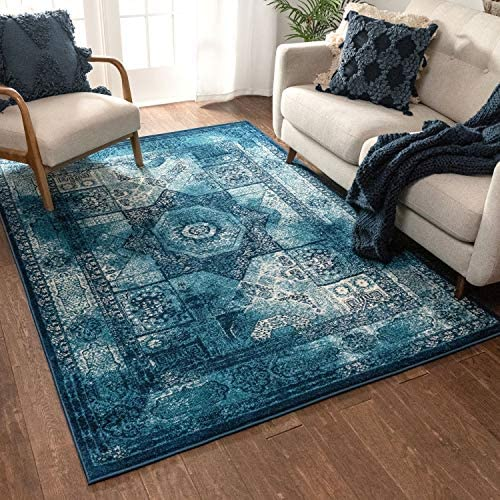 Well Woven Laurent Fiatto Vintage Traditional Medallion Blue 7'10″ x 9'10″ Area Rug