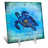 3dRose Andrea Haase Animals Illustration - Blue Underwater Turtle Illustration With Typography - 6x6 Desk Clock (dc_271192_1)
