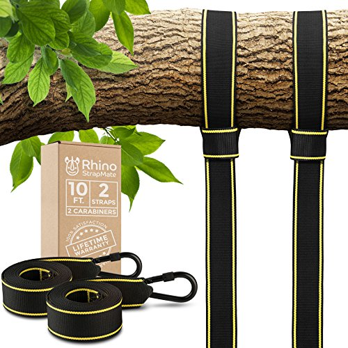 New ~ Extra Long Tree Swing Straps Hanging Kit - 2 10ft Straps (Holds 2800lbs, SGS Ceritfied), Easy Install for Any Swing or Hammock (Working Load Rope)
