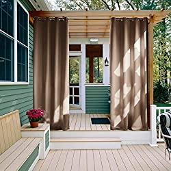 NICETOWN Outdoor Curtain Panel for Patio - Grommet Top Thermal Insulated Blackout Outdoor Drape for Patio/Front Porch (52 Inch Wide by 108 Inch Long, Tan-Khaki)