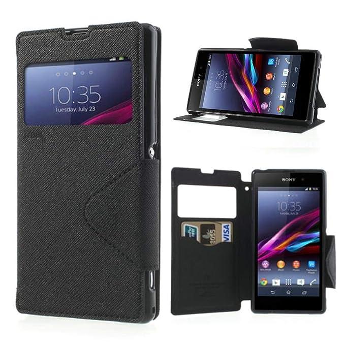 NessKa® Hülle Für Sony Xperia Z (L36h / C6603) | in Schwarz Handyhülle mit Kartenfach Fenster und Standfunktion Schutzhülle F