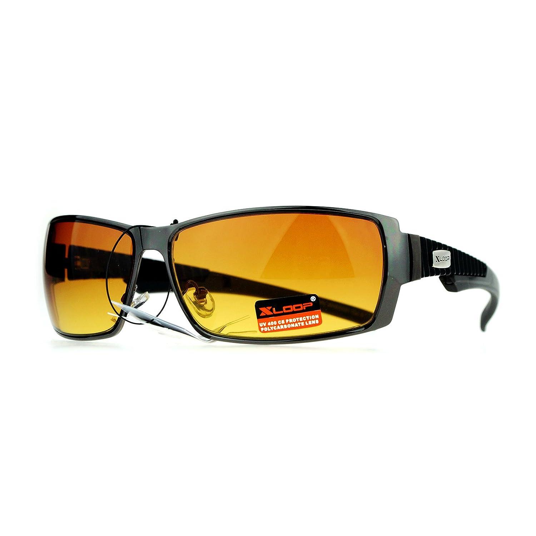 a23b789d9f Xloop Mens Rectangular Metal Rim Warp Sport HD Lens Sunglasses Gunmetal   Amazon.co.uk  Clothing