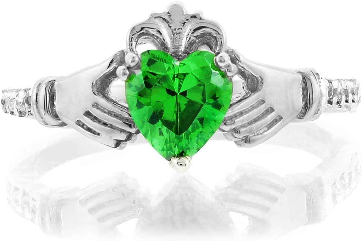 "14k White Gold Heart CZ Birthstone /""MOM/"" Ring"