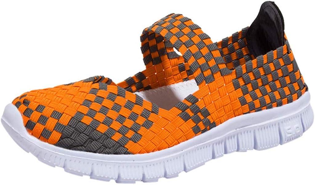 Mymyguoe Sandalen Frauen Mode Casual Sneaker rutschfest Mesh Atmungsaktiv Freizeit Wanderschuhe Flache Sport Loafers Gewebte Schuhe Geflochtene Sommerschuhe Indoor Outdoor