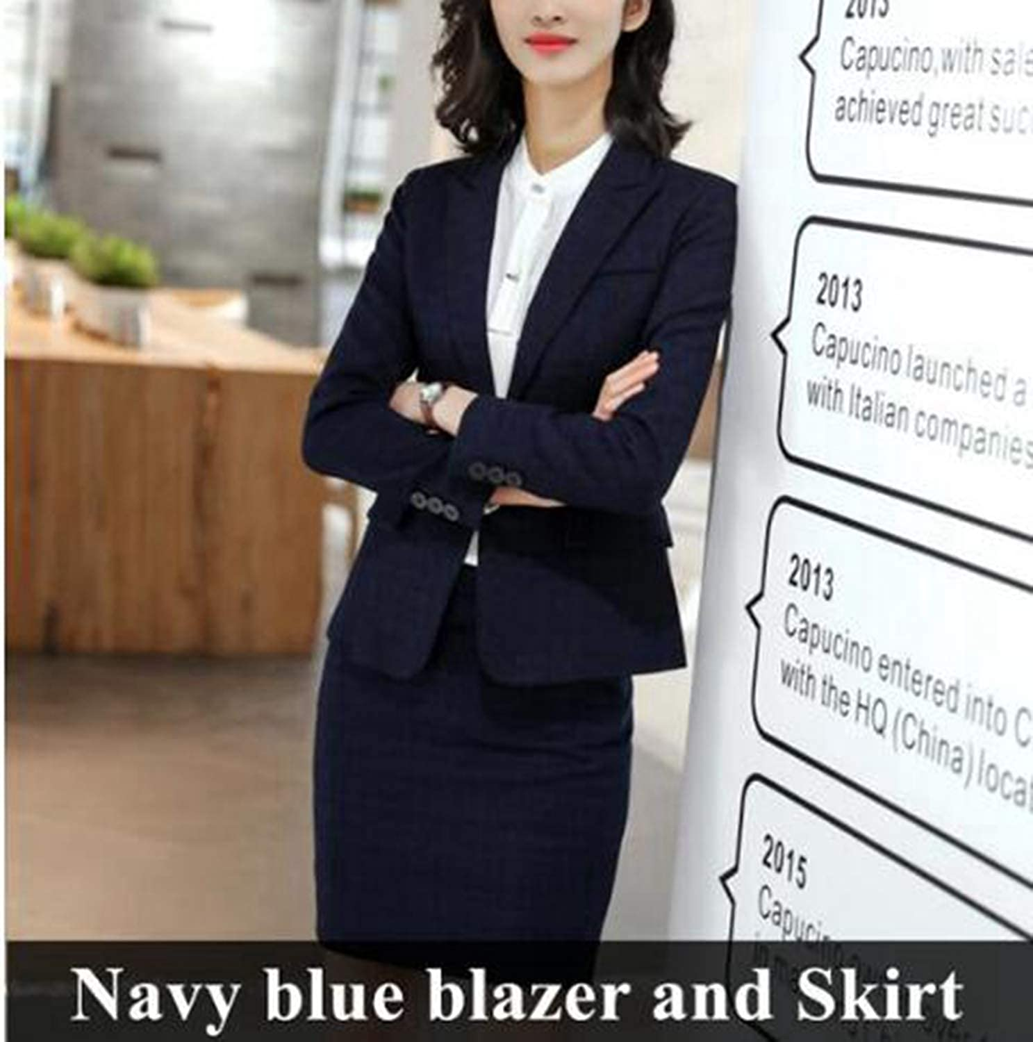 Navybluee skirt set Pants Suits Set Women Business Slim Plaid Long Sleeve Blazer with Pants Office Ladies Plus Size Interview Work wear