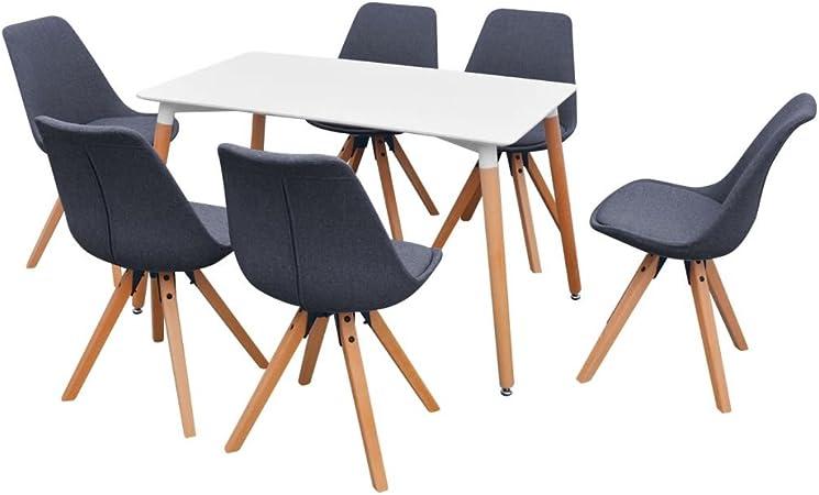binzhoueushopping - Juego de Mesa y sillas de Comedor (7 Piezas), Color Blanco y Gris Oscuro: Amazon.es: Hogar