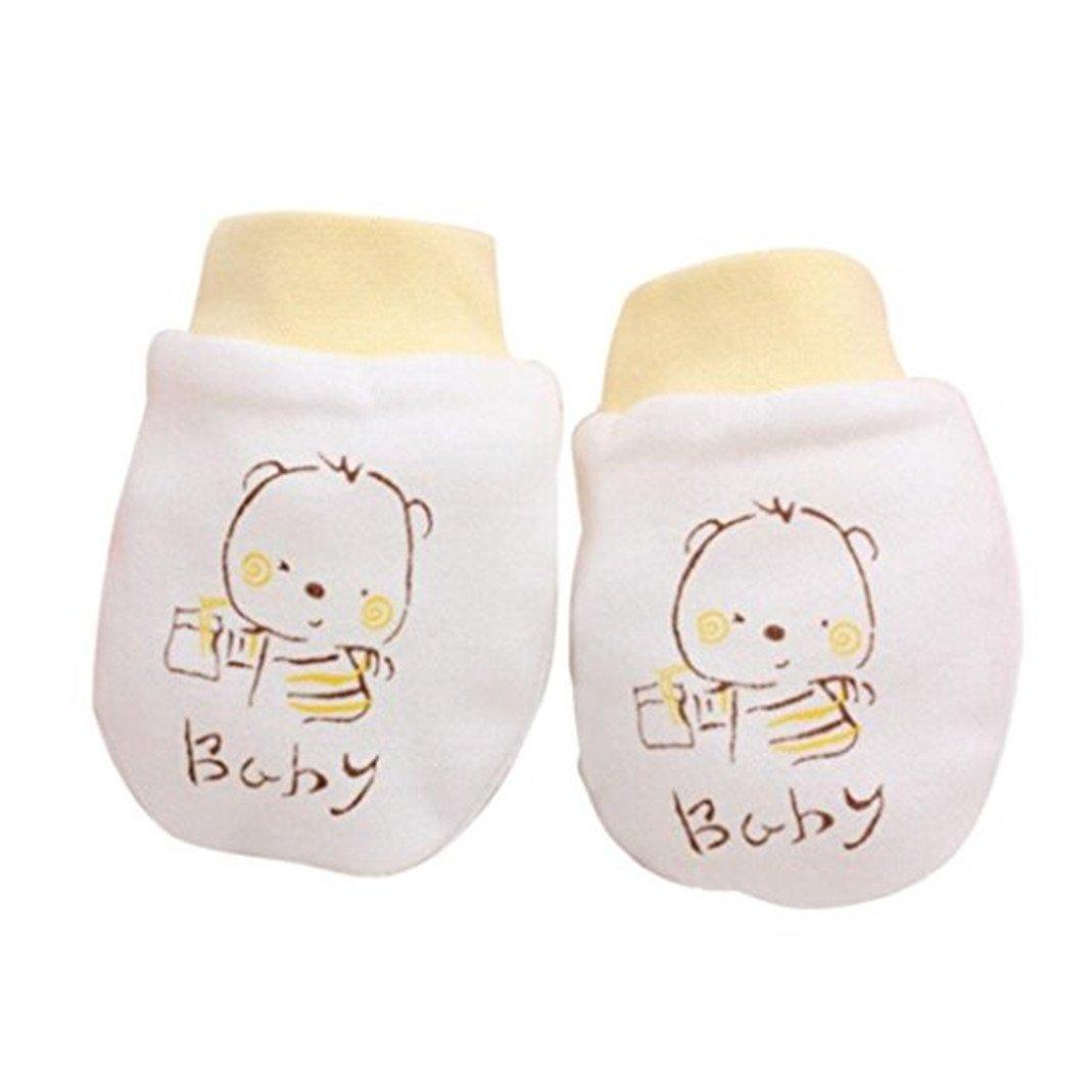 Zhouba 2paia cute Cartoon Baby Boys Girls anti scratch Mittens morbido per neonati guanti Gift giallo Yellow taglia unica
