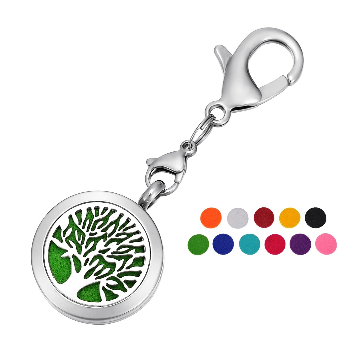 HOUSWEETY Tree of Life Aromatherapy Essential Oil Diffuser Necklace Keychain Key Ring Locket Jewelry with 11 Refill Pads HOUSWEETYB104688+B110351
