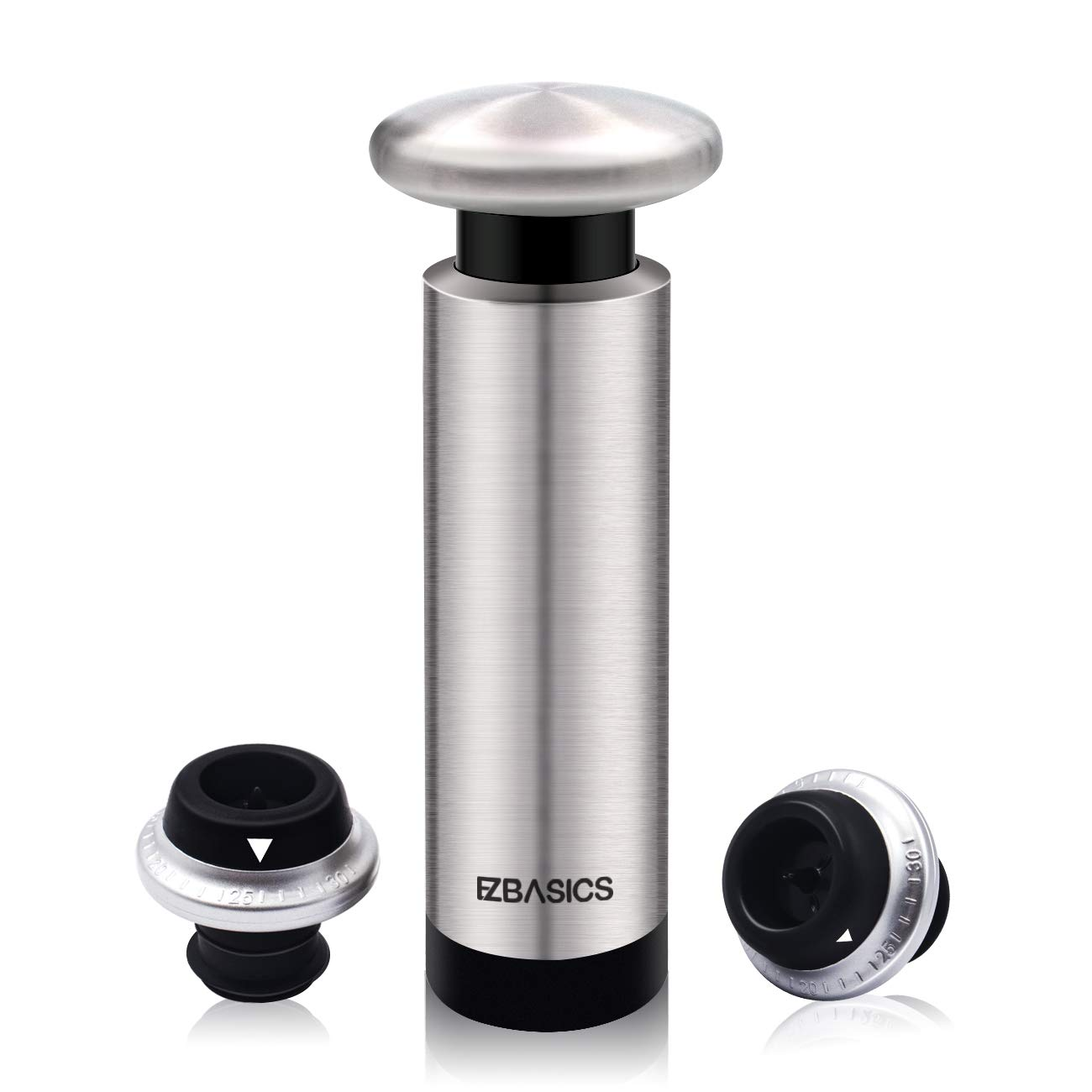 EZBASICS Wine Saver with 2 Wine Stoppers - Stainless Steel Wine Vacuum Pump with 2 Rubber Wine Bottle Stoppers with Vacuum