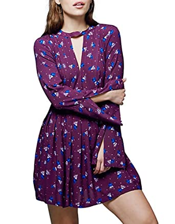 830361cac31b7 Image Unavailable. Image not available for. Color: Free People Womens Printed  Cutout Casual Dress ...