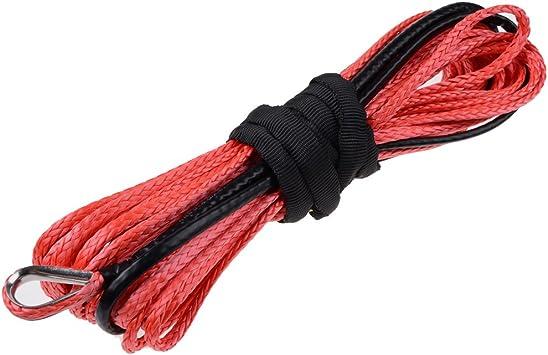 3//16 X 50 RED Synthetic Fiber Winch Line Rope 5400LBs w// Sheath Car SUV ATV UTV KFI
