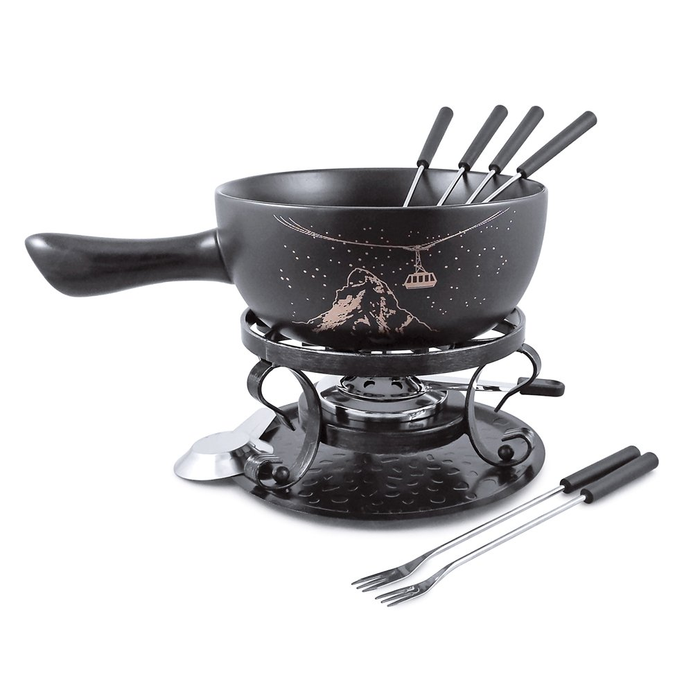 Swissmar Gruyere 9 Piece Ceramic Fondue Set, Black