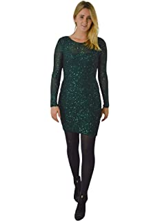 228c7ae7a83 ex Phase Eight Womens Ladies Pine Green Sequin Layered Bodycon Party Dress  Lined Knee Length…