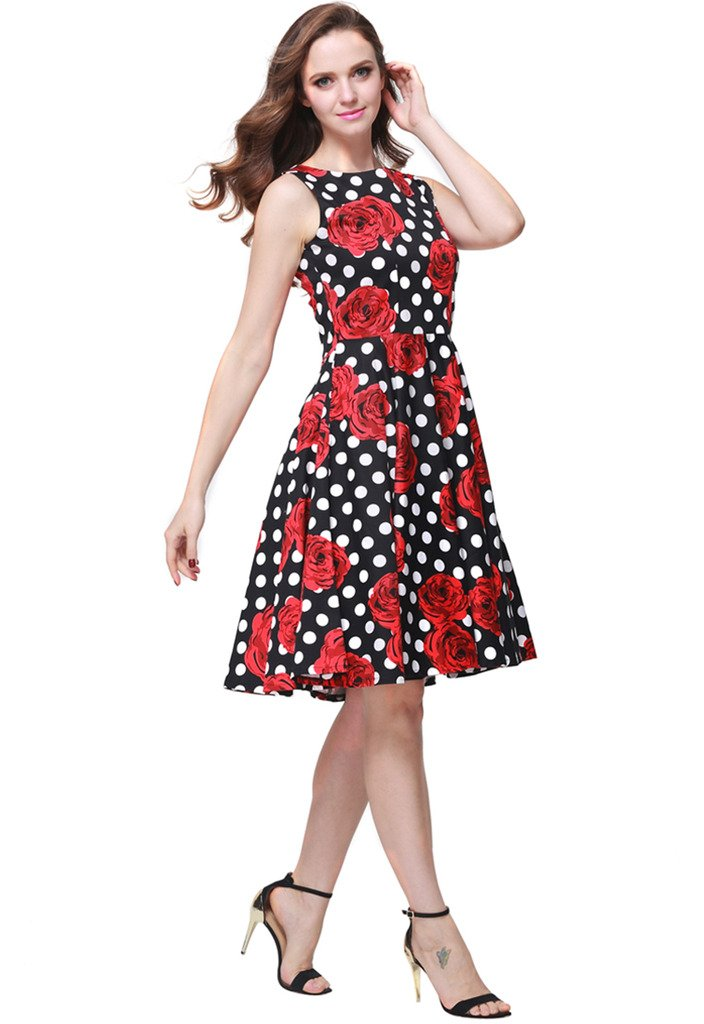 Buenos Ninos Women's Classic 1950s Printed Vintage Retro Rockabilly Party Ball Swing Dress Black with Red Rose L by Buenos Ninos (Image #3)