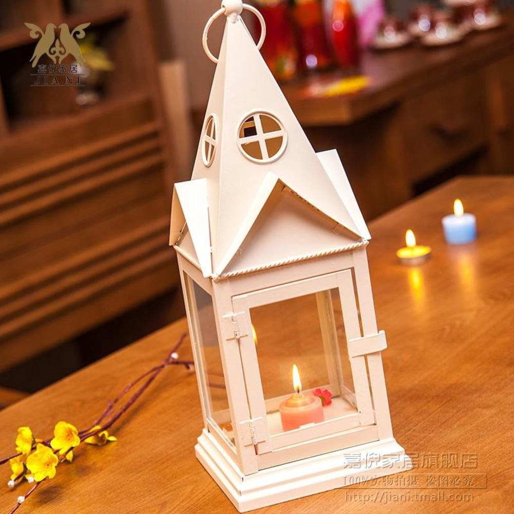 European style Candle holder,household Candlestick holders Valentine's day Gift Church Iron Lantern Decoration-White