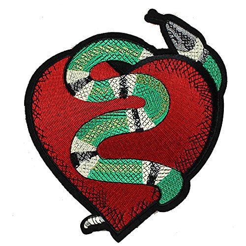 Red Appliques Polyester Heart (DIY Handmade Materials Red heart snake Embroidered Applique Patch Vintage Animal Patch T-shirt Jeans Decoration Patch (Snake))