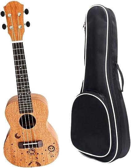 Bestlymood Ukulele da Concerto da 23 Pollici Chitarra Hawaiana Un 4 Corde nel Mogano con Borsa per Strumenti Musicali per Principianti