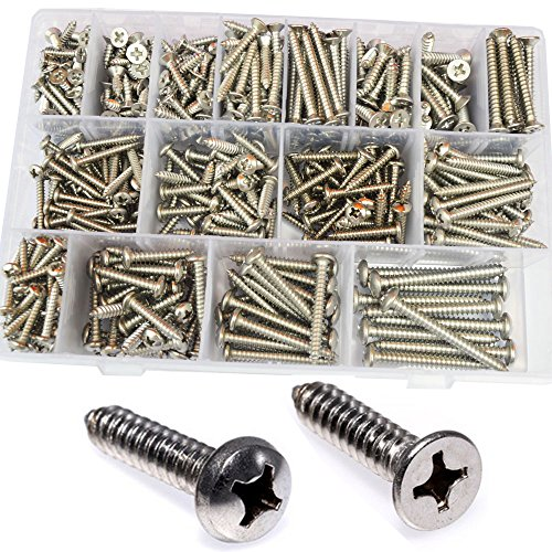 (M3 M4 M5 M6 Pan Round Flat Head Self Tapping Screw Phillips Cross Recessed Threaded Countersunk Metal Wood Screw Bolt Fastener Hardware Assortment Kit Set 560Pcs 304 Stainless Steel 6# 8# 10#)