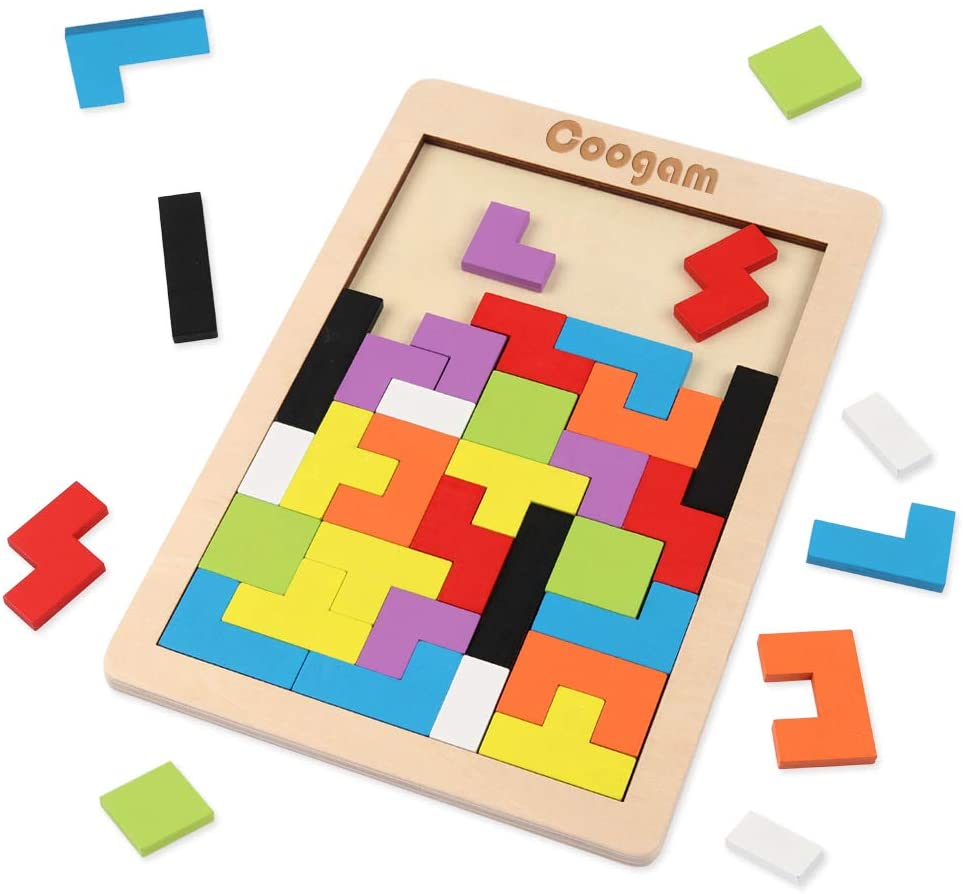 Coogam Wooden Blocks Puzzle Brain Teasers Toy Tangram
