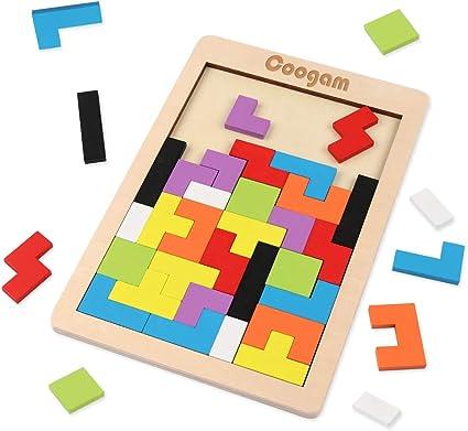 Coogam Puzzle de Madera 40 Piezas Tangram Jigsaw Brain Teaser Toy para Adulto Caja de Rompecabezas de Madera Juego de Cerebro Bloque de Construcción Inteligencia Regalo Educativo para Niños: Amazon.es: Juguetes y