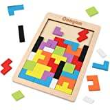 Coogam Wooden Tetris Puzzle Brain Teasers Toy Tangram Jigsaw Intelligence Colorful 3D Russian Blocks Game STEM Montessori Educational  Baby Kids (40 Pcs)