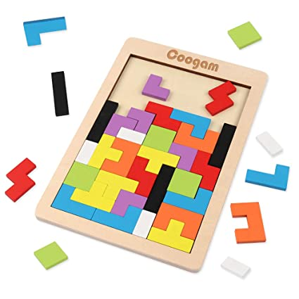 Coogam Wooden Tetris Puzzle Brain Teasers Toy Tangram Jigsaw Intelligence  Colorful 3D Russian Blocks Game STEM Montessori Educational Gift for Baby