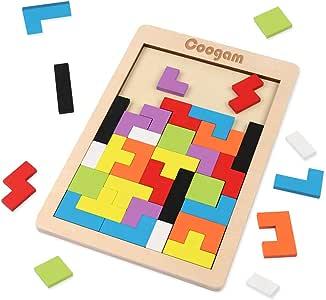 Coogam Houten Tetris Puzzel 40 Stuks Tangram Jigsaw Denkspelletje Speelgoed Voor Kinderen Houten Puzzeldoos Hersenen Spel Gebouw Blok Intelligentie Educatief Cadeau Voor Peuters