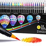 EVNEED Watercolor Brush Pens Set, 24 Colors Best Real Soft Brush Markers for Adult and Kids Coloring Books, Drawing, Calligraphy, Writing and more Ultra Bright Pigment