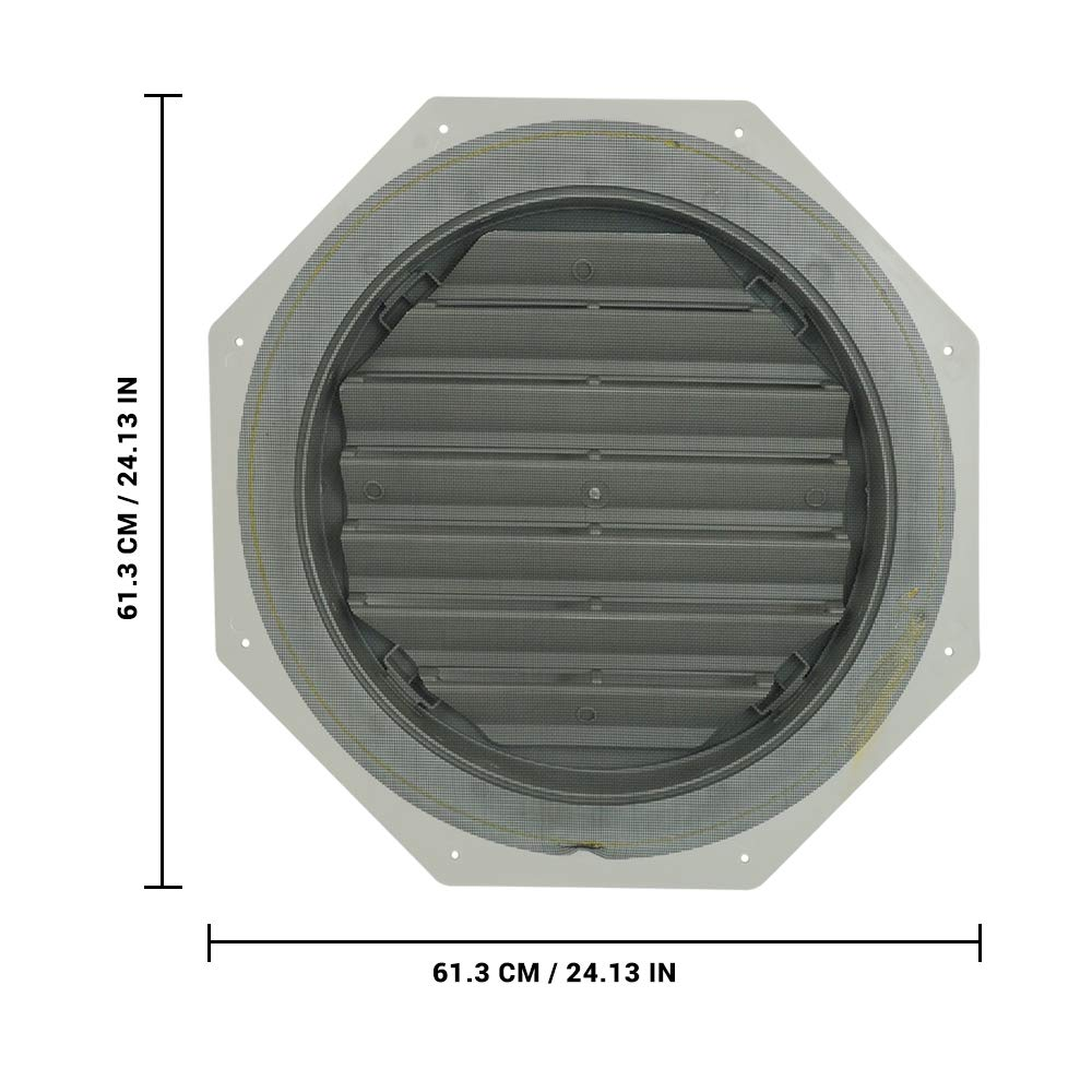 Suntown 22 Octagon Functional Gable Vent with Screen 2 Piece Construction Grey