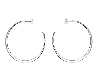 Tuscany Silver Sterling Silver 35mm Flat Hoop Earrings kCd7Vs3w