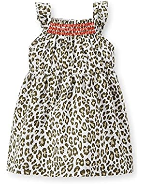 Poplin Leopard Dress; Brown/white; 24 Months