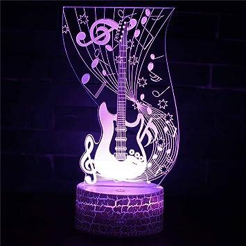 Yike-Lamp Guitarra eléctrica 3D Luz de Noche Colorido Tacto USB Ilusión Luz Visual Estéreo Luz Regalo: Amazon.es: Hogar