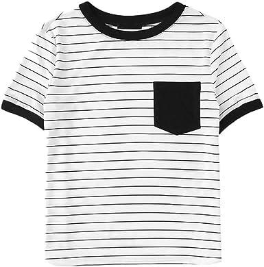 Camiseta Estampada A Rayas para Mujer O Manga De Bolsillo ...