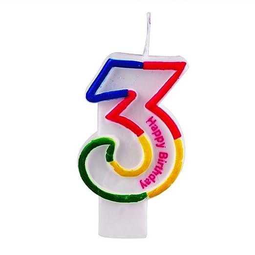 Willcan - Velas de cumpleaños con números coloridos, adornos ...