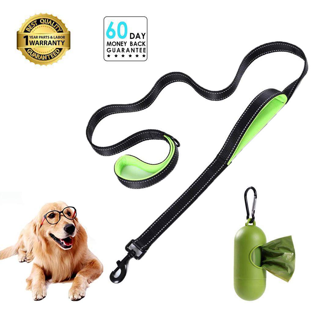 Padded Handle Dog leashes 6ft Long - Traffic Padded 2 Handle - Double Handles Lead for Training Control Leashes - for Large Dogs or Medium Dogs by TRJGDCPFC