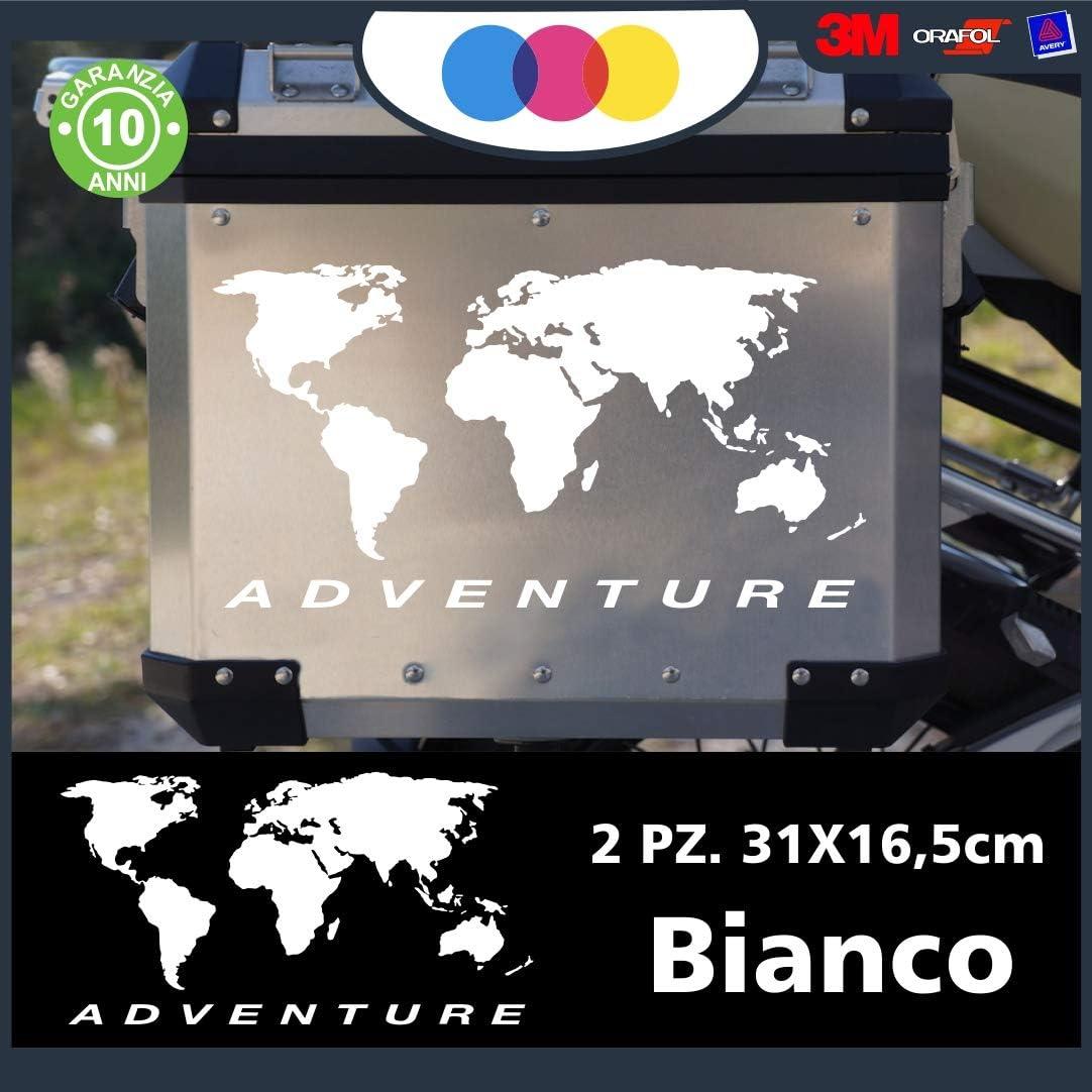 mural stickers 2 Pegatinas de mapamundi, adecuadas para Maletas de Moto – R 1200 1150 1100 GS Maletas Adventure R GS ADV Moto – Color: AQUILE Bianco