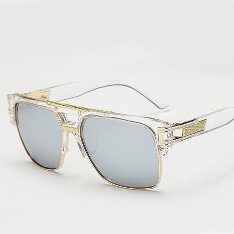 sonnenbrille Männer und frauen seitenrahmen Retro helle farbe reflektierende sonnenbrille Gläser Spiegel transparent Weiß quXUUIKt