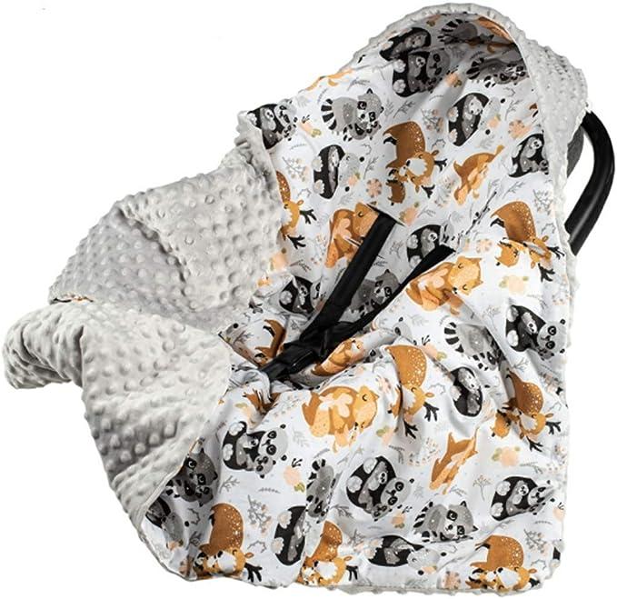 Baby Einschlagdecke mit Kaputze 90x90 cm Babyschale Pl/üsch Decke D9