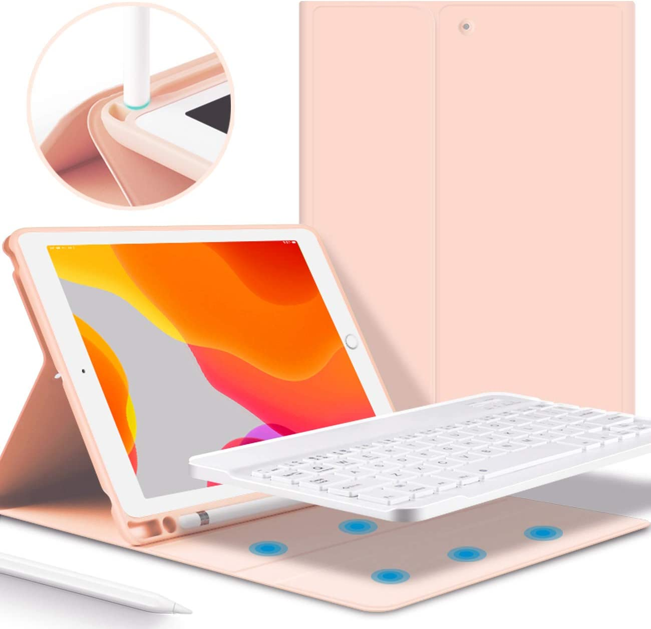KenKe iPad Keyboard Case for iPad 2018 2017 - iPad Air 1 & Air 2 Cover with Pencil Holder with Bluetooth Wireless Detachable Keyboard 9.7 inch iPad 5th/6th Generation with Keyboard-(Pink)