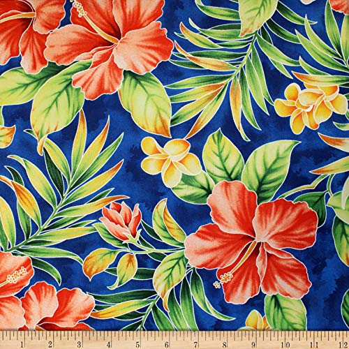 Trans-Pacific Textiles Hawaiian Hibiscus Palm Royal, Fabric by the ()