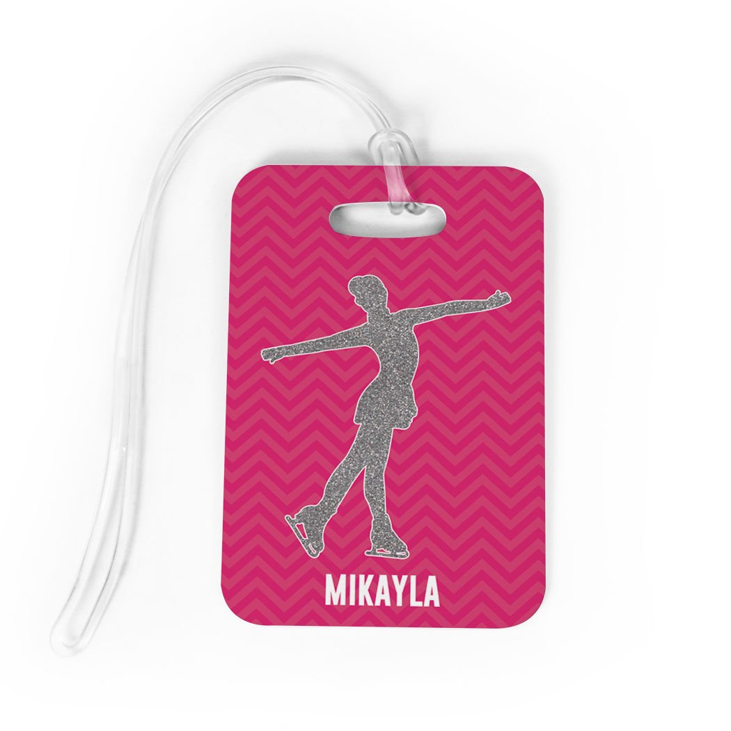 Figure Skating Luggage /& Bag Tag SMALL Personalized Faux Glitter Chevron Pattern Standard Lines on Back TEAL