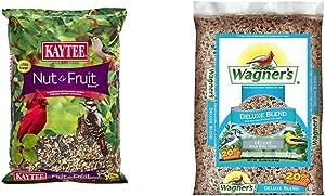 Kaytee Fruit Nut Blend Pet Food, 5 lb & Wagner's 13008 Deluxe Wild Bird Food, 10-Pound Bag, Basic