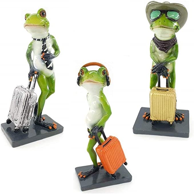 """Reisn Set of Six Green Frogs Playing Baby Frog Collectible Statue Figurine 3.5/""""H"""