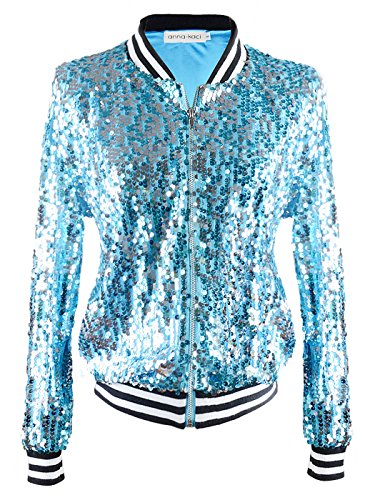 Anna-Kaci Womens Sequin Long Sleeve Front Zip Jacket with Ribbed Cuffs, Blue, Medium -