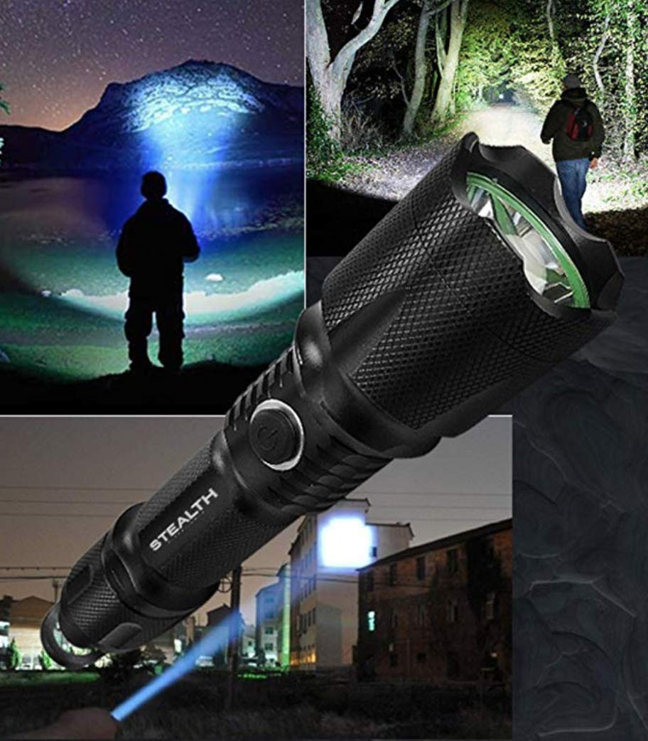 Stealth Tactical Brightest Torch Waterproof Rechargeable Police Flashlight with Bottle Opener and Glass Breaker