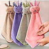 ❤Ywoow❤ Towel , Baby Hand Towel Cartoon Animal Rabbit Plush Kitchen Soft Hanging Bath Wipe Towel