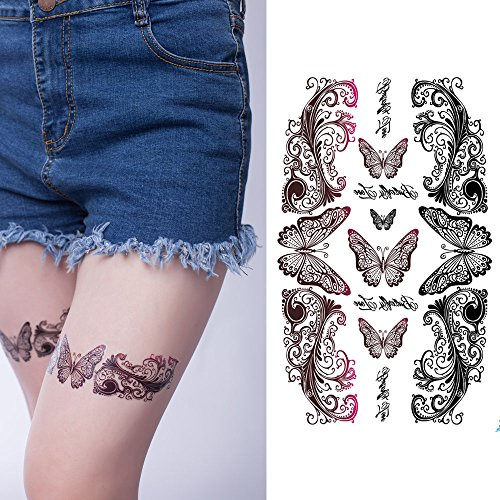 Yeeech Temporary Tattoos Sticker Rebirth Butterfly Sexy Products for Women Belly Scar Decal (Purple Butterfly Tattoo)