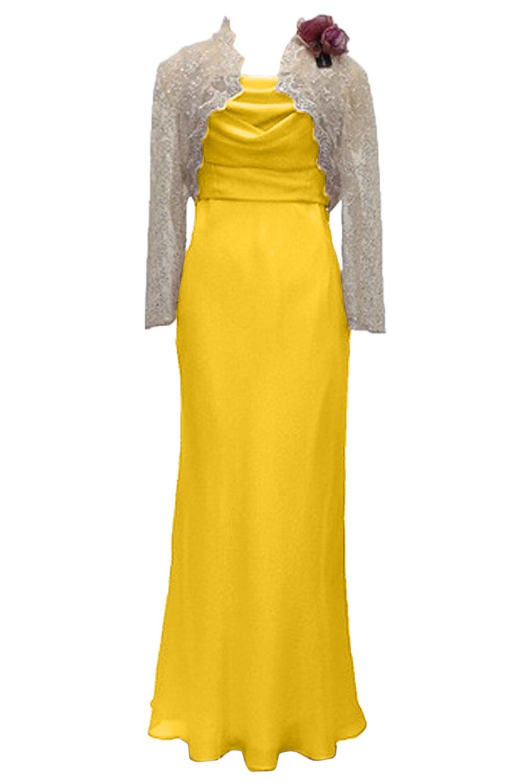 (ウィーン ブライド)Vienna Bride 披露宴用母親ドレス ママのドレス ロングドレス ピンク 結婚式 ボレロ 2ピースドレス レース パーティー 二次会 演奏会 発表会 B078W3YD38 19|イエロー イエロー 19
