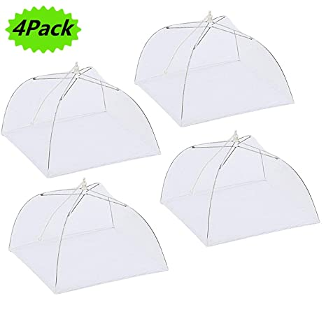 new style fe473 bed20 Picnic Fly Screens, Food Cover Set of 4 Large Reusable and Collapsible  Pop-Up Mesh Screen Outdoor Picnic Food Net 17 inch Tent Umbrella Keep Out  Flies ...